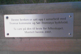 plaque on bench, West Tromsøya