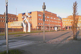 hospital illuminated from north in June, Tromsø
